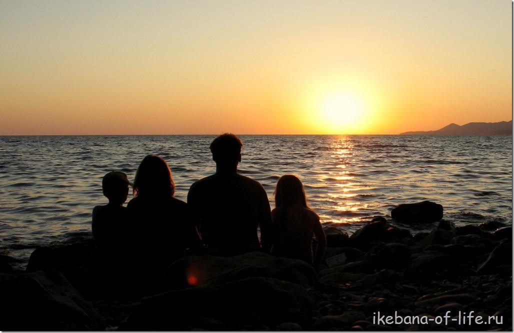 закат у скалы Киселёва,семья