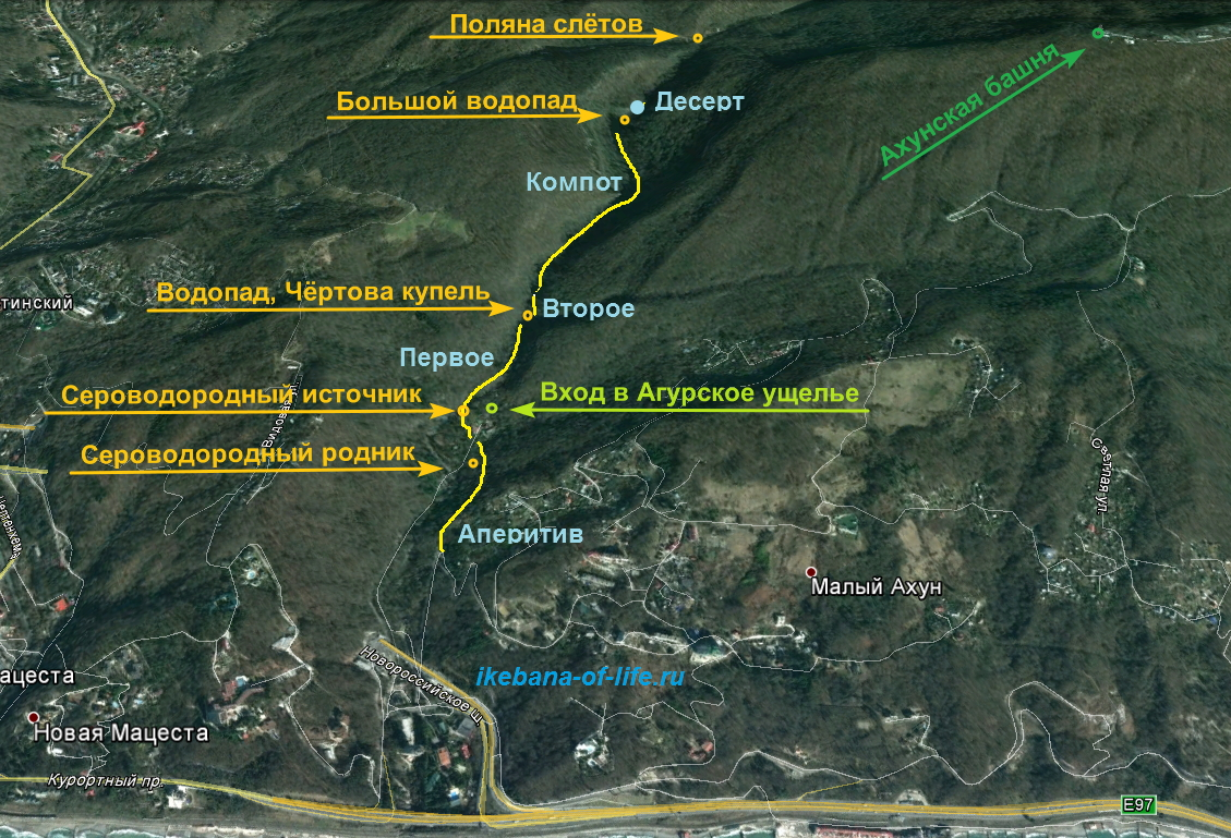 Карта нетуристического маршрута в Агурском ущелье